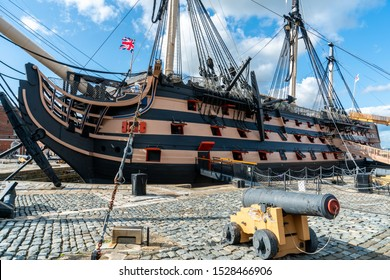 HMS Victory the Admiral Horatio Nelson's flagship at the Battle of Trafalgar in 1805 at Portsmouth Historic Dockyard, UK.