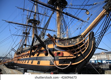HMS Victory was Admiral Horatio Nelson's flagship at the Battle of Trafalgar in 1805 during the Napoleonic Wars. She is currently in a dry dock at Portsmouth, England ,UK