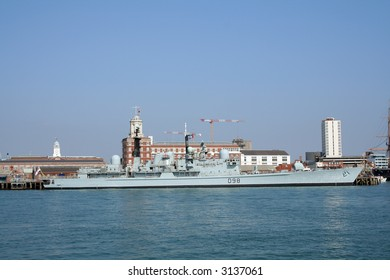 HMS York (D98) type 42 destroyer of the Royal Navy berthed in Portsmouth harbour