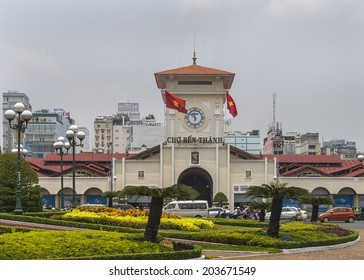 HO CHI MING CITY, VIETNAM - CIRCA APRIL 2012: The Ben Thanh Market in Saigon. Main entrance of the covered market.