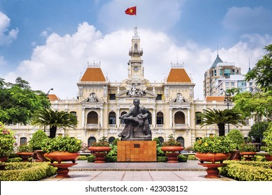 Ho Chi Ming City, Vietnam - January 18: The Ho Chi Minh City Hall, or Ho Chi Minh City People's Committee, built in 1902-1908 in a French colonial style for the then city of Saigon, Vietnam.