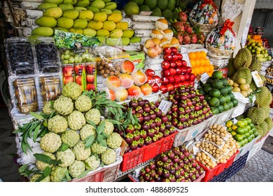 Ho Chi Minh ,18 Sep 2016 : Street market with different exotic fruits. Vietnam, Asia