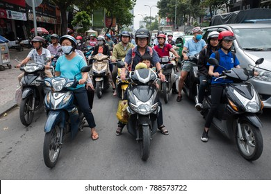 HO CHI MINH - 27 DEC: traffic in city center of Ho Chi Minh city, Vietnam on 27 December 2017. The air pollution in Ho Chi Minh city is among the worst in the world.