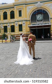 Ho Chi Minh City - 1 Jul: Pre-wedding Photography in Saigon Central Post Office in Ho Chi Minh City, Vietnam on 1 July 2016