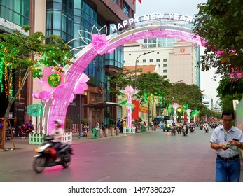 Ho Chi Minh city, 16 Jan 2019 - Nguyen Hue street was decorated by various kind of flowers in Tet holidays, Vietnam Lunar New Year in Vietnam