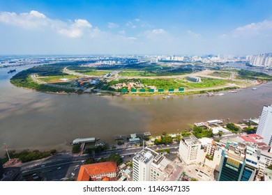 Ho Chi Minh city aerial panoramic view from Saigon Skydeck observation deck in Bitexco Financial Tower in Vietnam