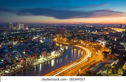 Ho Chi Minh city by night, Vietnam