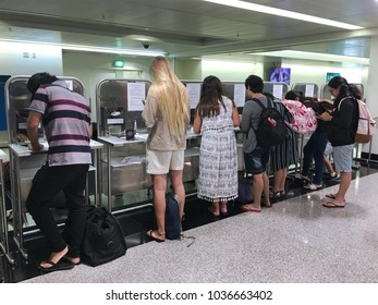 HO CHI MINH CITY - DEC 2017: Unidentified tourists apply for a visa in the Tan Son Nhat International airport. Holders of a visa letter can obtain a visa at international airports of Vietnam.