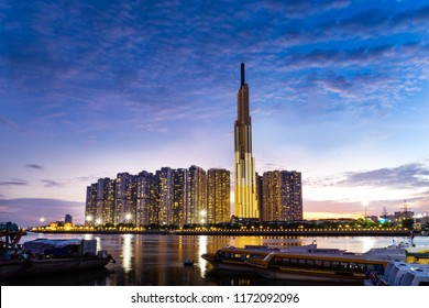 Ho Chi Minh city, District 2 / Viet Nam - April 20 2018: Landmark 81 is a super-tall skyscraper currently under construction in Ho Chi Minh City, Vietnam. It is the tallest building in Vietnam