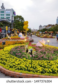 Ho Chi Minh city, Jan 2019 - Nguyen Hue street was decorated by various kind of flowers in Tet holidays, Vietnam Lunar New Year in Vietnam