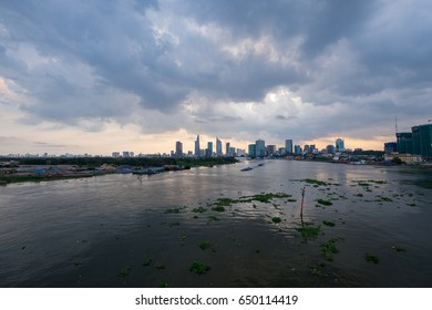 HO CHI MINH CITY - March 12 2017: Skyscrapers business center in Ho Chi Minh City on Vietnam Saigon in sunset