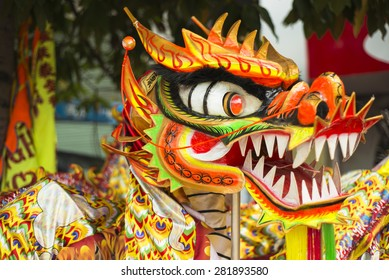 HO CHI MINH CITY, MAY 24 2015 - Head of traditional Chinese Dragon