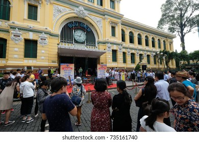 Ho Chi Minh City Oct 14, 2017. Undefined people watching festival traditional Vietnamese musical instrument performed in front of the central post office