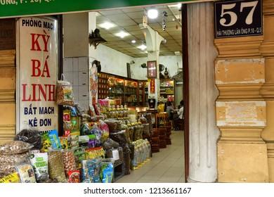 Ho Chi Minh City, Saigon, Socialist Republic of Vietnam - august 15 2018 : herbalist shop