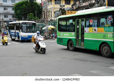 Ho Chi Minh City, Saigon, Socialist Republic of Vietnam - august 15 2018 : the picturesque traffic jam in the city centre