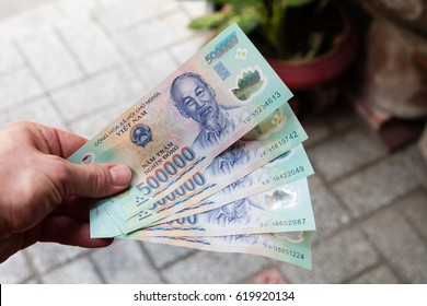 Ho Chi Minh City (Saigon), Vietnam - march 7 2017: 500.000 Vietnam Dong banknotes. 500.000 VND is equal to 22 USD