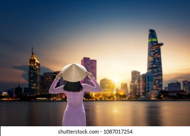 Ho Chi Minh City skyline and the Saigon River, Vietnam