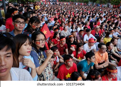 HO CHI MINH CITY, VIET NAM- JAN 27, 2018:  Amazing with large crowd of Vietnamese soccer supporters  watch AFC U23 soccer final match from outdoor Tv screen at Nguyen Hue walking street