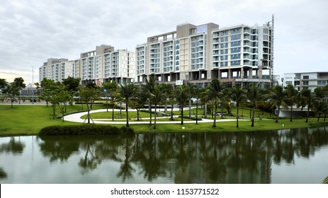 HO CHI MINH CITY, VIET NAM- AUG 9, 2018: Development of real estate at district 2 with new city project, modern architecture and beautiful view at Vietnam
