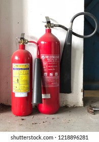 Ho Chi Minh city, Viet Nam - November 2, 2018. Editorial: The fire extinguisher in warehouse.