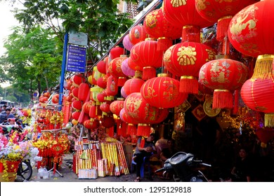HO CHI MINH CITY, VIET NAM- JAN 25, 2019: Vibrant red ornaments for Asian Tet occasion show on facade of decoration shop on China town, Cho Lon, a market place to decor for Lunar New Year, Vietnam