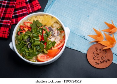 Ho Chi Minh city, Viet Nam 10 April 2019: sour fish soup: made with snakehead fish