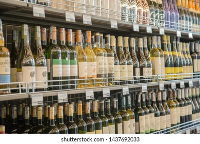 Ho Chi Minh city, Viet Nam - June 26, 2019 : alcoholic beverages, red wine on the stalls in supermarket.