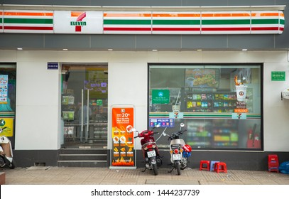 Ho Chi Minh city, Viet Nam - jun 16, 2019 : Seven eleven stores in the city center