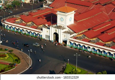 HO CHI MINH CITY, VIET NAM- MAR 23: Ben Thanh market from high view, place is famous destination of Vietnam travel in Ho chi Minh, ancient architecture, amazing red roof on day, VietNam, Mar 23, 2014