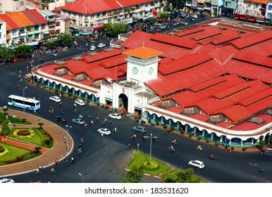 HO CHI MINH CITY, VIET NAM- MAR 23: Overview Ben Thanh market , this place is famous destination of Vietnam travel in Ho chi Minh, ancient architect, amazing row of house on day, VietNam, Mar 23, 2014