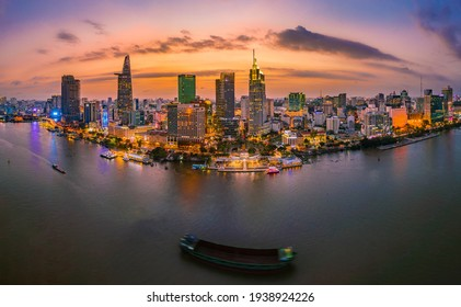 Ho Chi Minh City, Viet Nam, March 18th 2021: Beautiful Sunset at Ho Chi Minh City, commonly known by its previous name, Saigon is the largest and most populous city in Vietnam