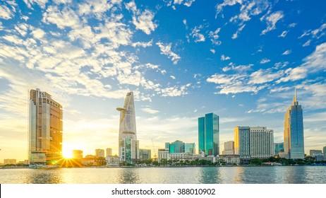 Ho Chi Minh City, Viet Nam 23 DEC 2015: Downtown Saigon in sunset ,Ho Chi Minh city, Vietnam. Ho Chi Minh city is the biggest city in Vietnam.