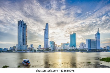 Ho Chi Minh City, Viet Nam 12 JUL 2015: Sunset over Downtown Saigon, Ho Chi Minh city - the biggest city in Vietnam.