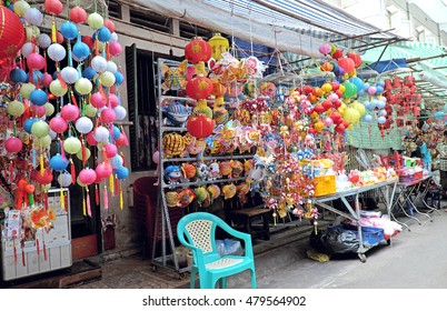 HO CHI MINH CITY, VIET NAM - SEPTEMBER 07, 2016: Lantern town (pho long den) in Chinatown (Pho Nguoi Hoa) in district 5, Ho Chi Minh City, Viet Nam.