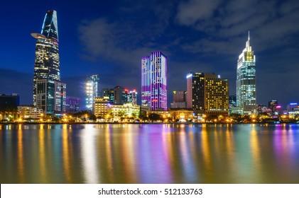 Ho Chi Minh City, Viet Nam 07 NOV 2016: Downtown Saigon in sunset ,Ho Chi Minh city, Vietnam. Ho Chi Minh city is the biggest city in Vietnam.