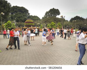 Ho Chi Minh City, Viet Nam - February 2, 2017: A image of a training session of a local dance club at Hoang Van Thu Park in the early morning in Ho Chi Minh city, Viet Nam