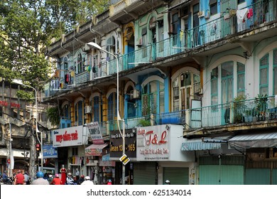 HO CHI MINH CITY, VIET NAM- APRIL 18, 2017: Scene of old apartment building at Cho Lon on day, amazing ancient architecture of China town, Vietnam