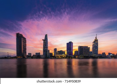 HO CHI MINH CITY, VIET NAM - SEPTEMBER 14, 2017: Ho Chi Minh city over the sunset, Sai Gon, Viet Nam. View from Thu Thiem tunnel to Bitexco tower and many other buidings.