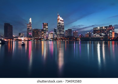 HO CHI MINH CITY, VIET NAM - OCTOBER 15, 2017: Ho Chi Minh city in blue hour, Saigon, Vietnam.