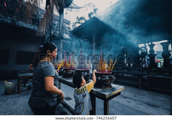 Ho Chi Minh City, Viet Nam 18 August 2017: Unidentified people visit, praying for lucky and happy in first day of the month at Chua Ba Thien Hau Temple. It was built by the Chinese community in 1760
