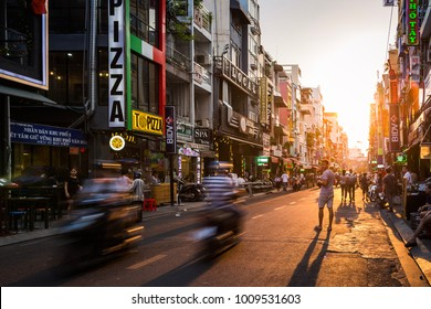 Ho Chi Minh City, Vietnam - 2018: Pham Ngu Lao Street is renowned as the place where most backpacking travellers stay during their holiday.