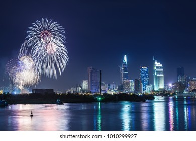 Ho Chi Minh City, Vietnam - 3 January 2018. Colorful fireworks of Ho Chi Minh City at new year view from Chau Thu Thiem bridge