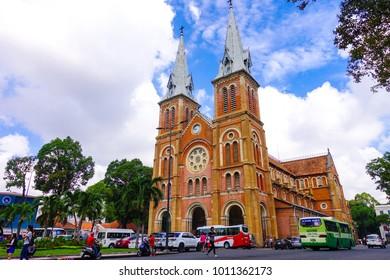 Ho Chi Minh City , Vietnam .NOV 10, 2017 .Close up Notre-Dame Cathedral landmark in Ho Chi Minh City, Vietnam