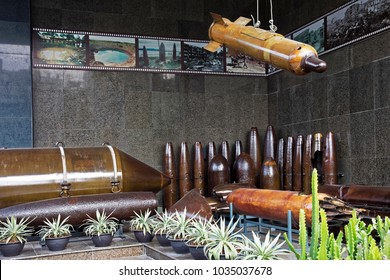 Ho Chi Minh City, Vietnam 04/12/2017 Bombs on display in the War Remnants Museum in Ho Chi Minh City Vietnam