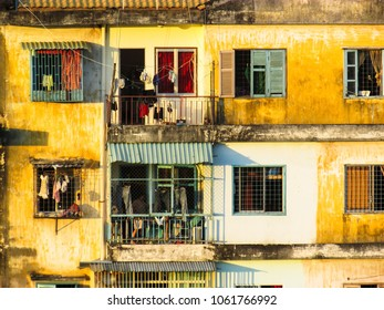 Ho Chi Minh City, Vietnam - December 15, 2013: outside look of old apartment living with details in Vietnam