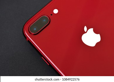 Ho Chi Minh city / Vietnam - Apr 13th 2018: Apple iPhone 8 Plus Red review