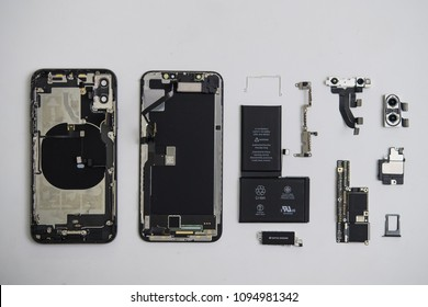 Ho Chi Minh city / Vietnam - Jan 17th 2018: Apple iPhone X parts for repairing