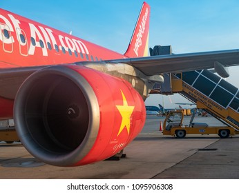 Ho Chi Minh City, Vietnam - May 16, 2018: Established in 2011, budget airline VietJet Air is now the largest domestic carrier of Vietnam . Here is one of their Airbus A320 at Tan Son Nhat Airport.