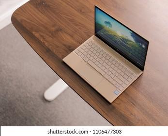 Ho Chi Minh city / Vietnam - Jun 03rd 2018: Review HP ENVY 13 laptop