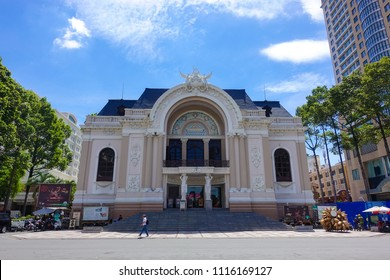 HO CHI MINH CITY, VIETNAM, 06 2018: Stock photo of Greco Roman Woman Statues Old Opera House Municipal Theater known as Saigon Opera House built in 1899 by the French Saigon Ho Chi Minh City Vietnam
